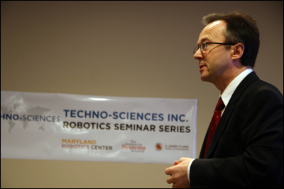 Techno-Sciences' Jean-Luc Abaziou talks about his company and its interest in robotics at the first Techno-Sciences Inc. Robotics Seminar of 2011.