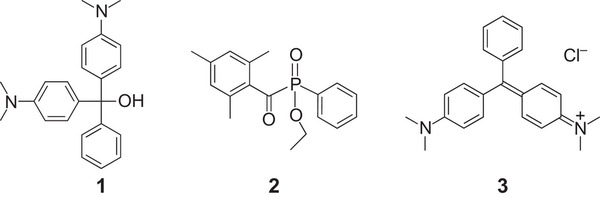 Radical photoinitiators used here for multiphoton absorption polymerization.