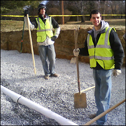 MSE senior Eric Epstein (right) working on EWB's bioretention facility implementation on campus during winter break 2010.