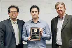 Left to right: Professor Reza Ghodssi, Konstantinos Gerasopoulos, and MSE Professor and Chair Robert M. Briber.