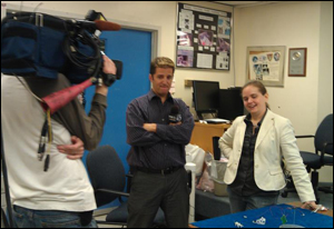 Assistant Professor Sarah Bergbreiter prepares for her TV interview. Photo credit: M. Corley.