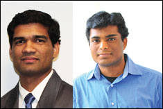 ECE Alumnus Avinash Varna (left) and ECE Graduate Student Ravi Garg (right).