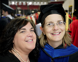 Kathy Lopresti (left) with ChBE Professor and Chair Sheryl Ehrman (right) at the Clark School's Winter 2011 commencement ceremony.