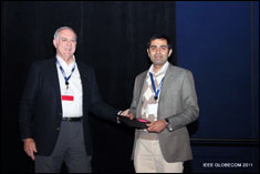 Ravi Tandon receives best paper award at GLOBECOM 2011.