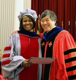 Dr. Espy-Wilson receives the Distinguished Scholar-Teacher award from University of Maryland President Wallace Loh on Oct. 9 at the Faculty & Staff Convocation.