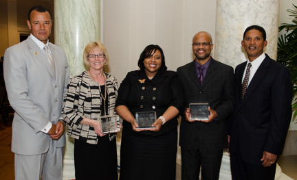 Pictured from left to right are: Carl Mack, National Society of Black Engineers; Kathy Zerda, University of Houston; Tamara Hamilton, Clark School Center for Minorities in Science in Engineering; Theodore Caldwell, Michigan State University; and Kenny Warren, ExxonMobil; at an awards ceremony April 18.
