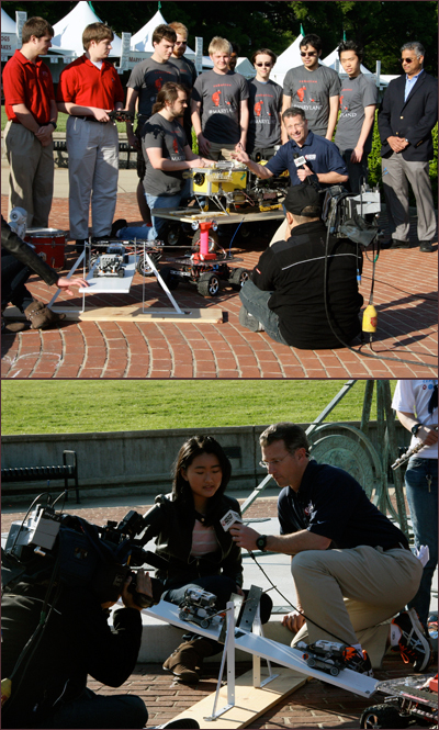 During the robotics segment Mike Hydeck interviews (top) Kit Sczudio of the Robotics@Maryland undergraduate team about Testudo IV, an autonomous underwater vehicle being readied for competition this summer; and (bottom) student Hongyi Xia, a student of Derek Paley, who talks with Hydeck about robots that are able to automatically balance on a see-saw.