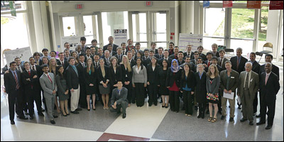 The Fischell Department of Bioengineering's Class of 2012 with faculty, staff, Capstone Design Competition and mentors.