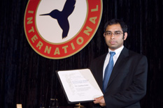 Anubhav Datta receives his award at 62nd AHS Int'l conference