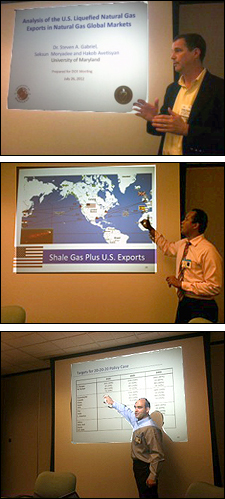 At the U.S. Energy Information Administration's Monthly Forecasting Series, top to bottom: Steven Gabriel, Seksun Moryadee, Hakob Avetisyan.