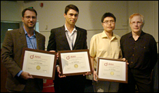 Left to right: Dr. Steven Miller (NASA LaRC, Aeroacoustic Branch),Dr. Jared Grauer (NASA LaRC, Dynamic Systems and Control Branch), Dr. Lian Duan (NIA, research scientist), Dr. Jan-Renee Carlson (NASA LaRC, Computational Aerodynamics Branch, serving as Head Judge for the competition).