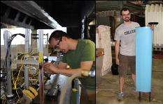 Left: Dan Waters adjusting the instrumentation on a thrust stand used for the testing of metal and ceramic micro-rocket engines. Right: Robert Vocke with his morphing wing wind tunnel prototype.