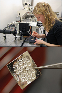 Above: MSE graduate student Amy Marquardt loads a silver sample into a reflectance spectrometer, which is used to quantify changes in the color  balance of the silver samples and determine the acceptability of the ALD oxide films� appearance. Below: A test sample of fine silver, stamped using silversmiths� methods, to create the kind of complex surface the new protective coatings would encounter on artifacts.