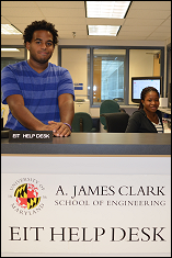 Student employees Kevin Climes and Ramatou Cisse at work in the new EIT Help Desk office.