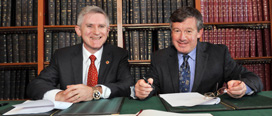 UMD Vice President and Chief Research Officer Dr. Patrick O'Shea (left) and UCC President, Dr. Michael Murphy (right)