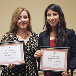 BioE/IBBR associate professor Silvia Muro (left) and BioE graduate student Rasa Ghaffarian (right) won the 2012 Professor Venture Fair for their presentation of a delivery system capable of delivering drugs or other therapeutics from the gastrointestinal (GI) tract to the circulation.