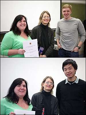 Top, left to right: Assistant Director of Undergraduate and Graduate Studies Kathy Gardinier, Professor and Chair Sheryl Ehrman, and Will Gibbons. Bottom, left to right: Gardinier, Ehrman and Chanda Arya. Not pictured: Laleh Emdadi.