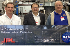 Professors Raymond Sedwick, Norman Wereley, and David Akin on the JPL campus.