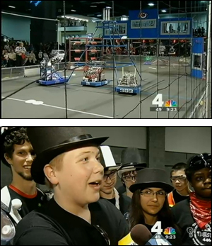 Above, a scene from the Washington, DC Regional FIRST Robotics Competition. Below, a student from Team Illusion talks about his experiences working on the robot. (Images courtesy NBC4, Washington, D.C.)Clark School of Engineering undergrads help middle and high school students prepare, compete.