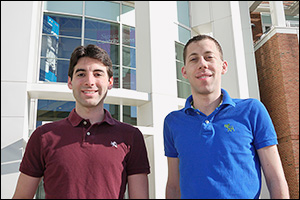 Fischell Department of Bioengineering graduate students and Diagnostic anSERS cofounders Eric Hoppmann (left) and Sean Virgile (right).