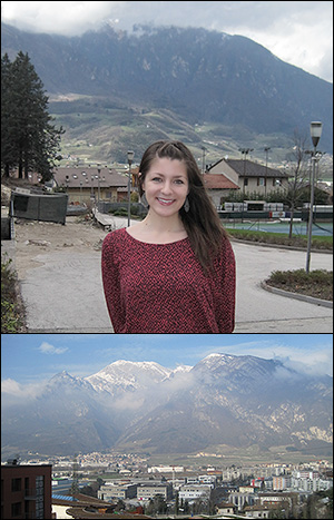 BioE graduate student and Bentley Group member Jessica Terrell in Trento, Italy.