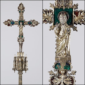 This elaborate processional cross from Zaragoza, Spain, is made of silver and enamel over a walnut wood core, radiocarbon dated to  the late 15th century.  It will be the first artifact from the Walters' world-class collection to receive a coating via atomic layer deposition to protect it from tarnish. Overall: 63 1/2 x 23 1/2 x 7 9/16 in. (161.3 x 59.7 x 19.2 cm). Purchased by Henry Walters circa 1909. Credit: Walters Art Museum.