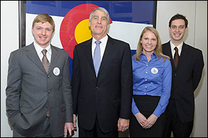 Will Gibbons (far left), with (left to right) Colorado U.S. Senator Mark Udall and Department of Materials Science and Engineering graduate students Amy Marquardt and Alexander Kozen at a 2013 Congressional Visit Day.