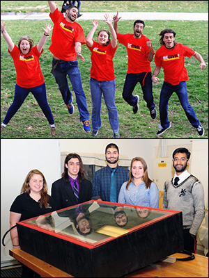 TOP: The Clark School solar still team jumps for joy when they learn they've won two of the contest's awards. Left to right: Merily Horwat, Sahson Raissi, April Tressler, Krishna Trehan, and Ryan Smith. BOTTOM: The team with their solar distillation unit. Photos by Alan P. Santos.