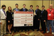 Aerospace students Jesse Cummings, Rebecca Foust, Christopher O'Hare, Michael Cunningham, Scott Wingate, Jason Burr, Dylan Carter and faculty advisor Dr. David Akin.