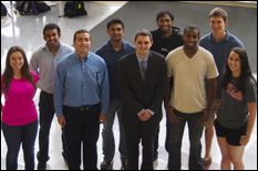 2013 UMD Student Design Team Front row, from left to right: Jaime Reel, Benjamin Jimenez, Erik Levin, James Lankford, Elizabeth WeinerBack row, from left to right: Nishan Jain, Tejaswi Jarugumilli, Bharath Govindarajan, Zak Kaler