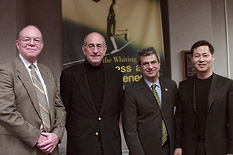 Left to right: Bob Ryan of the Whiting-Turner Corporation, Kenneth Brody, Dean Nariman Farvardin, and Jeong H. Kim.