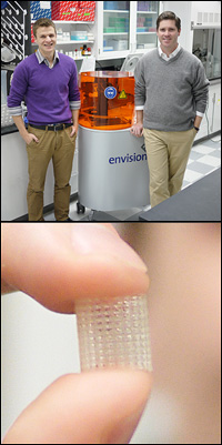 Top: BioE graduate student and Fischell Fellow Anthony Melchiorri (left) and Professor John Fisher (right) with their 3D printer. Bottom: A prototype, biodegradable vascular implant printed with Fisher and Melchiorri's novel polymer.
