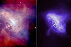 Left: The image of the Crab Nebula and Pulsar, in the optical (red) and X-ray (blue) portions of the spectrum superimposed. Right: The Crab Pulsar shown in only the X-ray portion of the spectrum. (NASA/CXC/ASU/J. Hester et al.)18