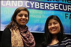 Margaret Gratian (left), a junior double majoring in computer science and mathematics, and Leah Xu, a sophomore computer engineering major, are the first recipients of a cybersecurity scholarship provided by ManTech International Corporation.