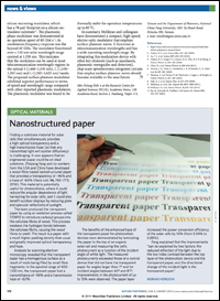 The Bing Research Group's transparent nanopaper was featured in Nature Photonics.