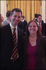 Aerospace Engineering/ISR Associate Professor Derek Paley and Mechanical Engineering/ISR Assistant Professor Sarah Bergbreiter at the White House. Photo courtesy of Sarah Bergbreiter.