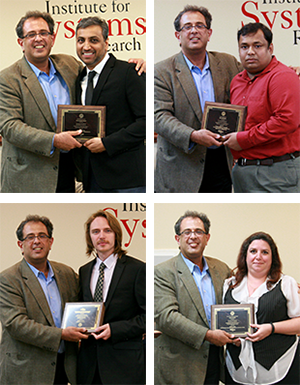 ISR Director Reza Ghodssi presents awards to (clockwise from top left) Ankur Srivastava, Biswadip Dey, Regina King and Daniel Mirsky.