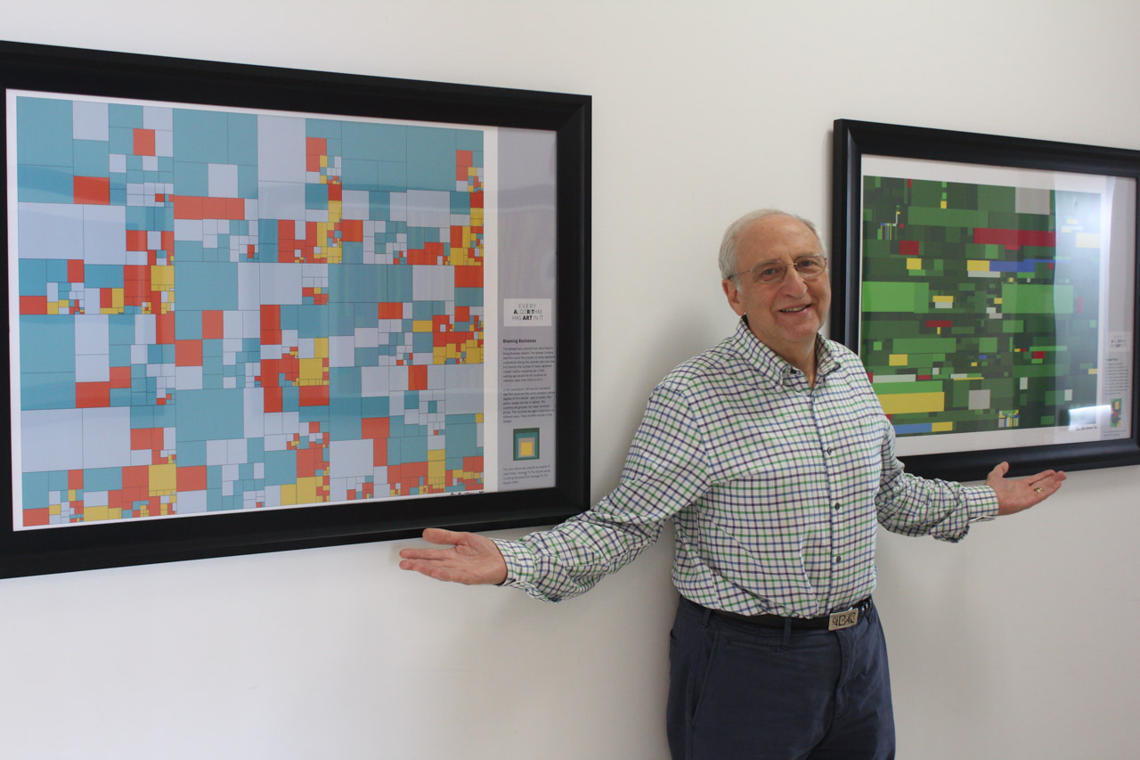 Ben Shneiderman with two of his Treemap Art Project pieces.