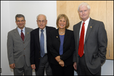 (L-R) Dean Farvardin, Robert W. Deutsch, Jane Brown (of the Deutsch Foundation) and Provost Destler. (Photo by Al Santos)