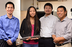 UMD research team (from left to right) Haijun Liu, Miao Yu, Yongyao Chen and Hyungdae Bae.  Not pictured, Michael Reilly.