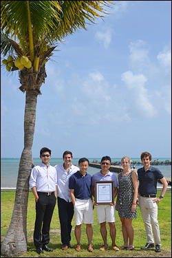 ECS members (left to right) Jiaqi Dai, Chris Pellegrinelli, Yilin Huang, Jiayu Wan, Ashley Ruth, and Colin Gore with their award in Cancun.