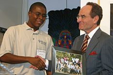 Hillman Entrepreneurs student Chae Clark and David Hillman.
