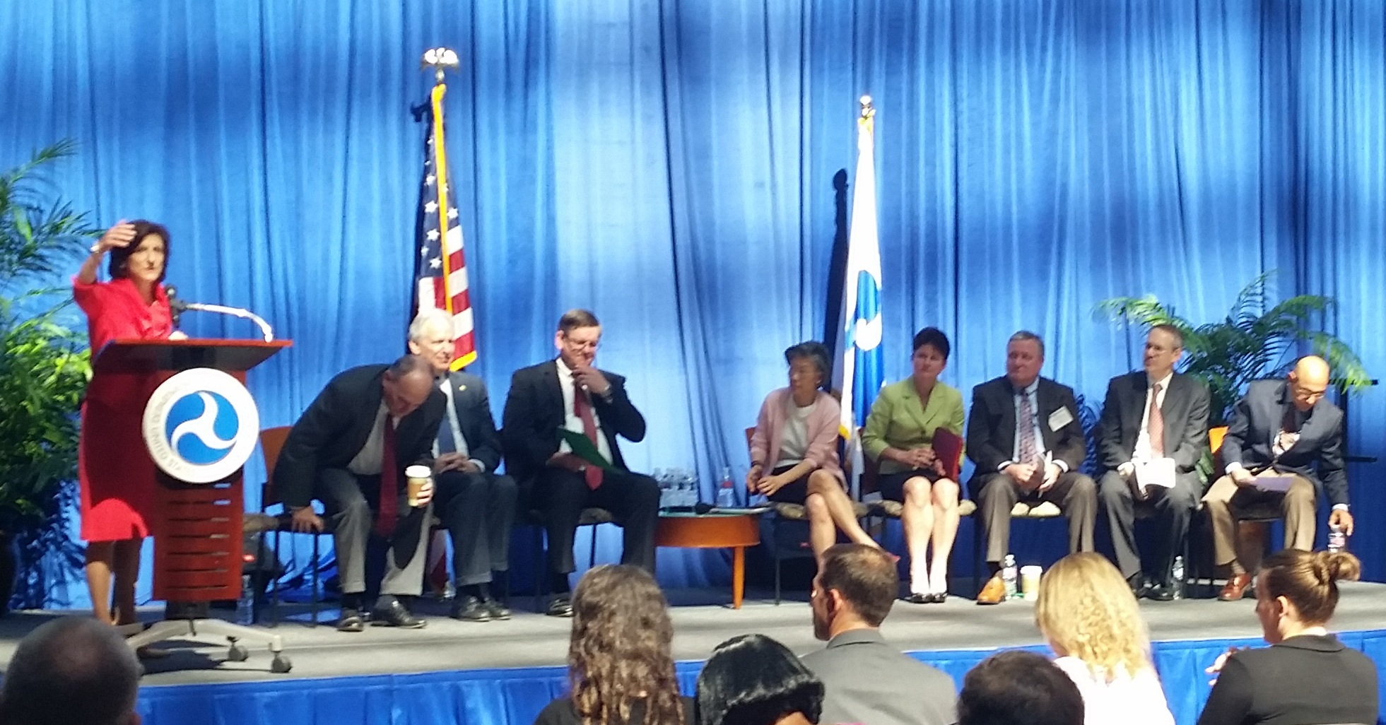 Full size image: Leaders of the Datapalooza event speaking to all of the attendees
