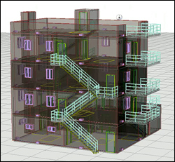 A rendering of a building at the Maryland Fire and Rescue Institute (MFRI) that was used for full-scale tests of the Cyber Physical System. Thanks to a combination of specialized software and sensors, researchers were able to observe fire, smoke and ventillation activity in the computer model, and at a safe distance, as a real fire moved through the structure.