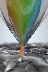 A novel imaging platform to determine the open-circuit voltage of solar cells with nanoscale spatial resolution is developed by assistant professor Marina Leite's research group at the University of Maryland. The illustration shows a scanning probe microscopy tip used to illuminate a very small region of the photovoltaic device, allowing scientists to now map local variations on this key parameter that determines how well any optoelectronic device operates.