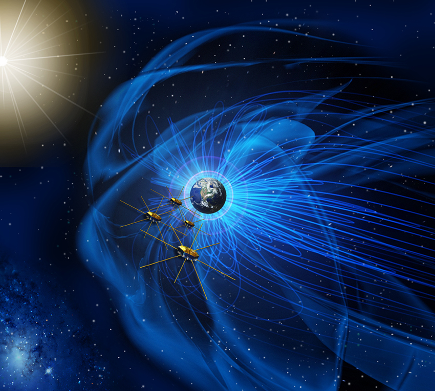 This artist's rendition shows the four identical MMS spacecraft flying near the sun-facing boundary of Earth's magnetic field (blue wavy lines). The MMS mission has revealed the clearest picture yet of the process of magnetic reconnection between the magnetic fields of Earth and the sun—a driving force behind space weather, solar flares and other energetic phenomena. Image credit: NASA