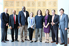 2016 award winners with university leadership. From left: Bruce E. Jarrell; Amitabh Varshney; Clement Adebamowo; Kathleen Stewart; Philip Resnik; Deanna Kelly; UMB President Jay A. Perman; and UMCP President Wallace D. Loh.