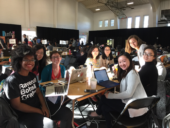 A group of women working together at Technica