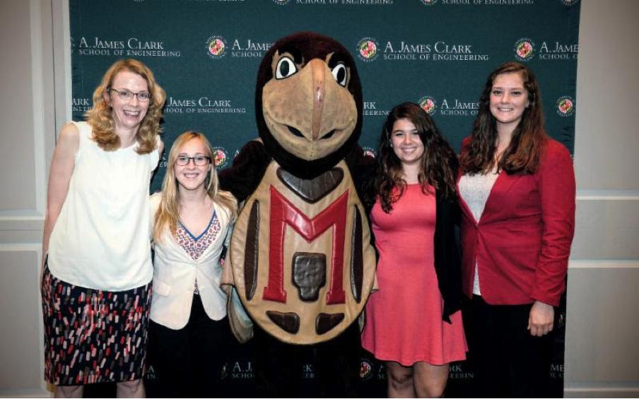 Joan Bryan with 2016 Scholarship Recipients Jessica Tilles, Irene Lemberos and Jessica Doermann.