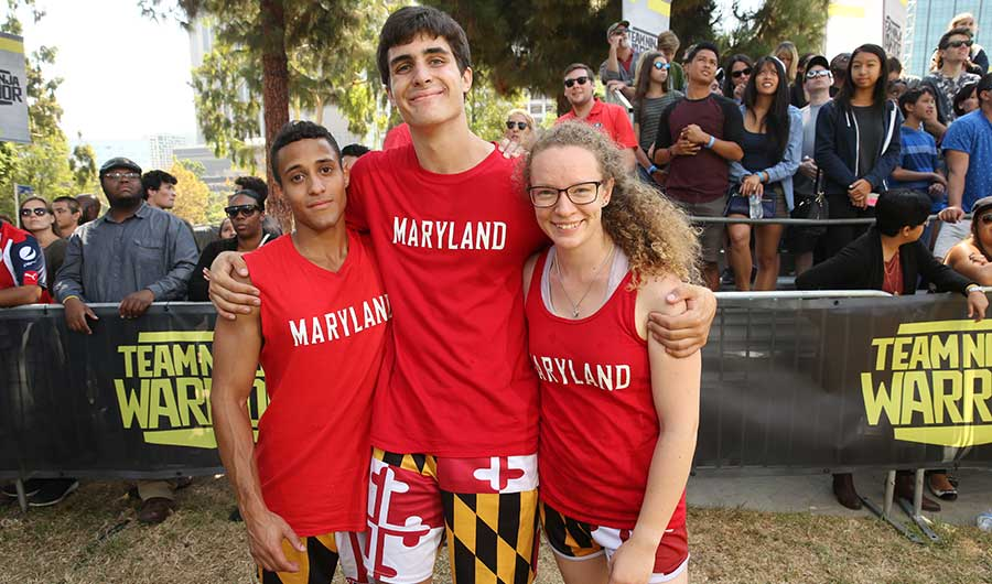 University of Maryland students Marcos Colon-Pappaterra (left), Kevin Merrick (middle) and Delaney Jordan (right)